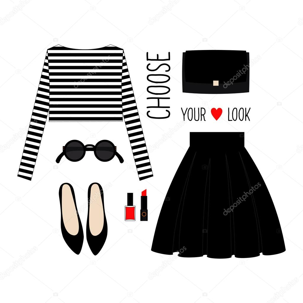 Fashion Illustration.  Casual look with cropped singlet, skirt, black shoes and accessories.