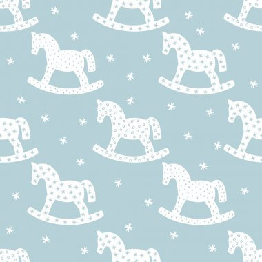 Seamless christmas pattern with rocking horses. Winter holidays vector background.