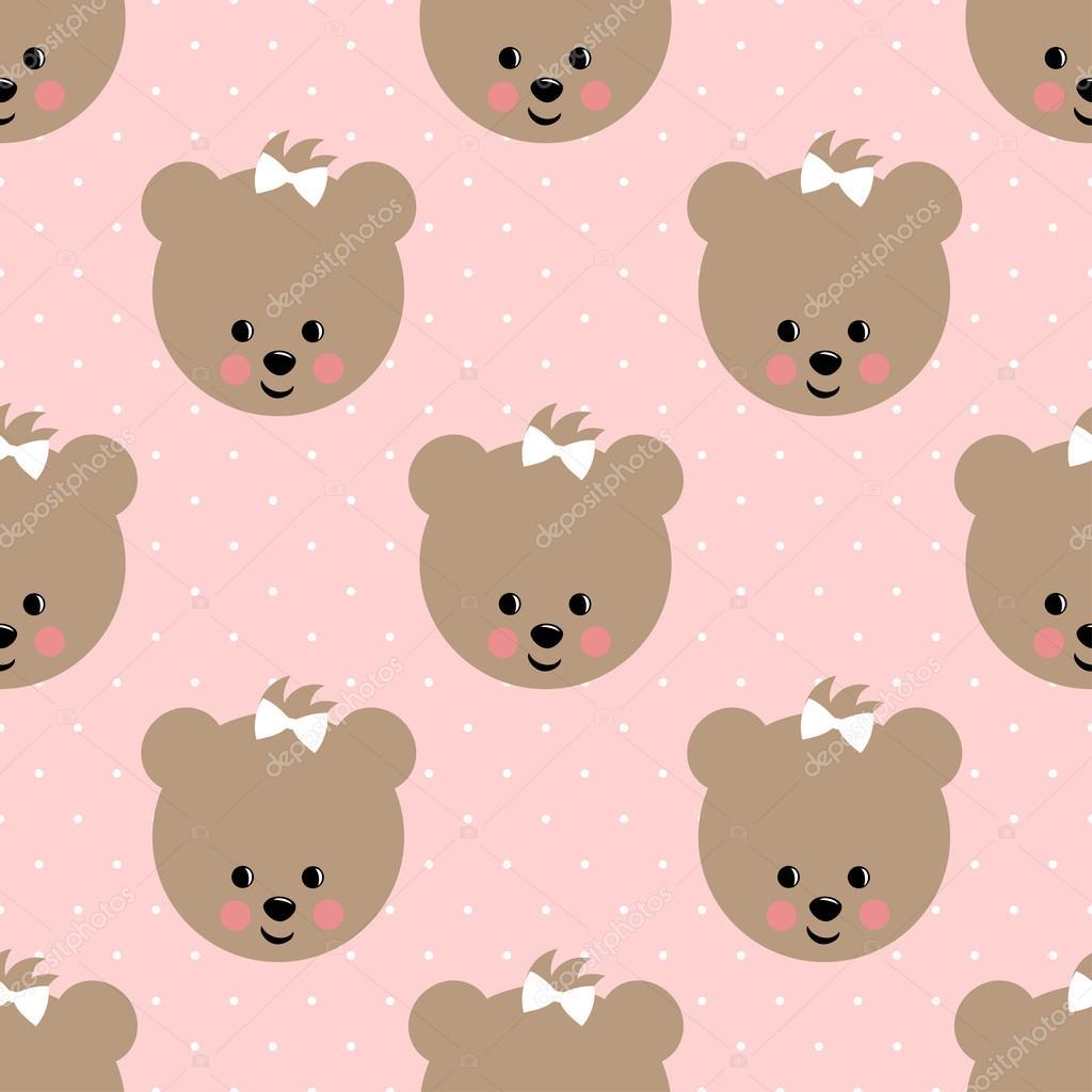Osito feliz de patrones sin fisuras en el fondo de lunares rosa ...