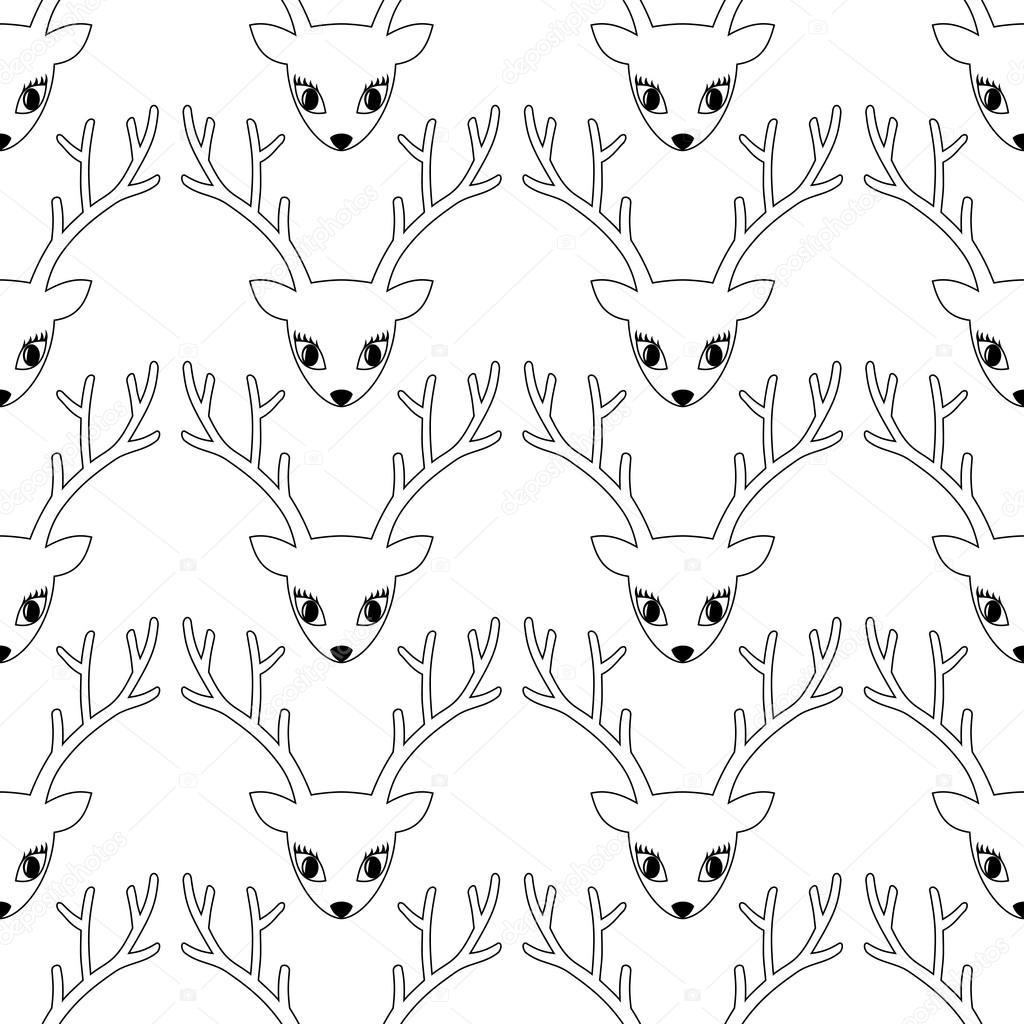 Ciervo cabeza de patrones sin fisuras. Fondo de ciervo lindo para ...