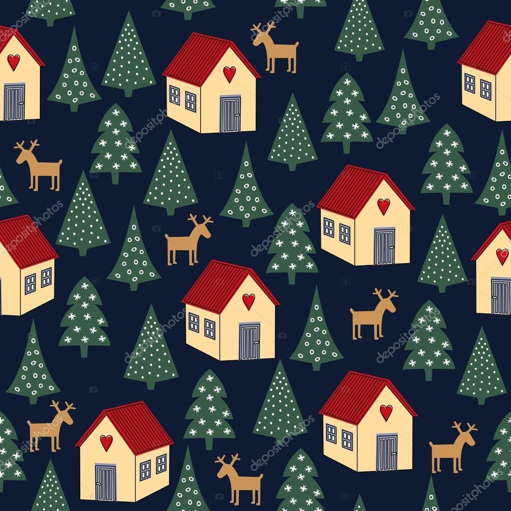Seamless retro Christmas pattern - varied Xmas trees, houses and deers. Happy New Year background.