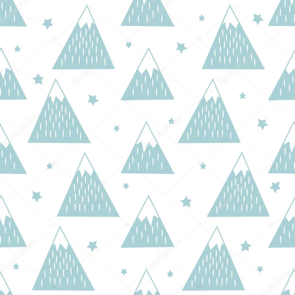 Seamless pattern with geometric snowy mountains and stars.