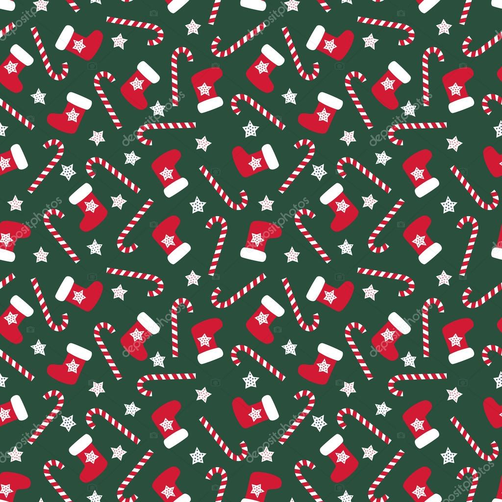 Christmas Pattern.Seamless Christmas Pattern With Xmas Stocking Stars And