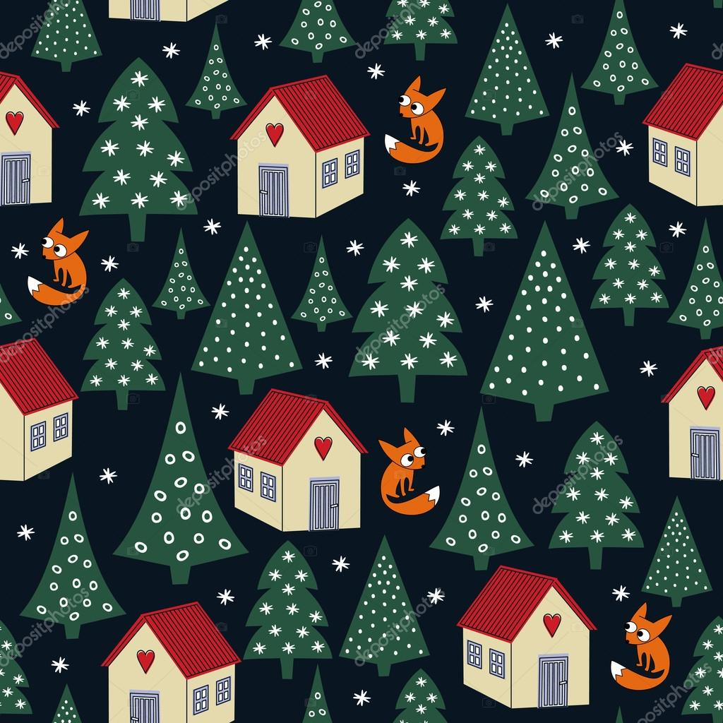 Seamless night winter Christmas pattern - varied Xmas trees, houses, snow and foxes.