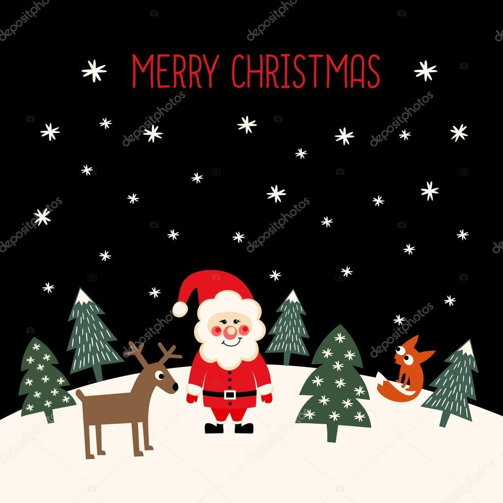 merry christmas card with cute santa claus, xmas trees, deer, fox