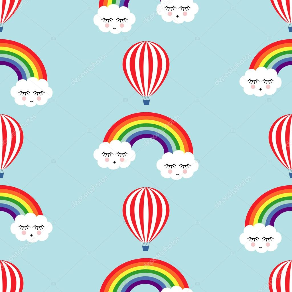 Smiling sleeping clouds, rainbows and hot air balloons seamless pattern.
