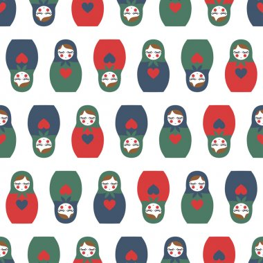 Colorful Nested doll seamless pattern. Cute wooden Russian doll - Matrioshka.