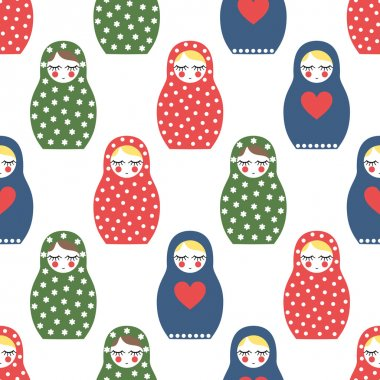 Nested doll seamless pattern. Cute wooden Russian doll - Matrioshka.