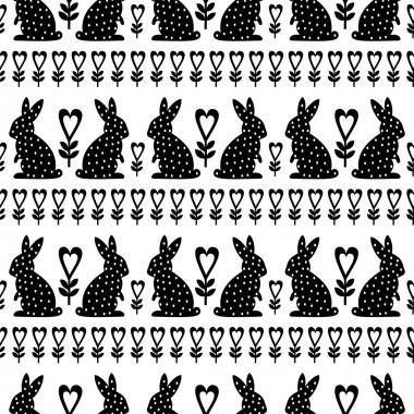 Easter Pattern with Easter Bunny and flowers on white background. Black and white seamless Spring Holiday Background.