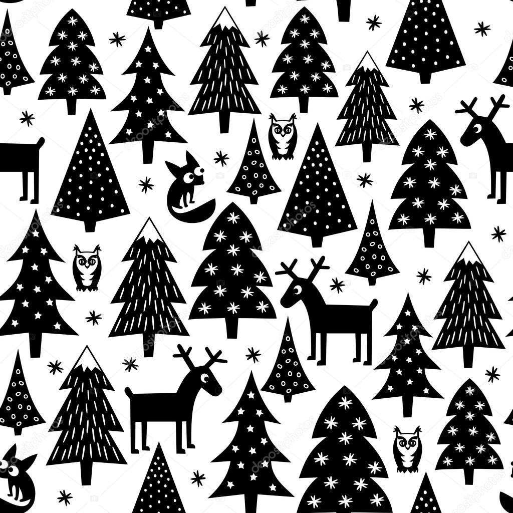 Black and white seamless Christmas pattern - Xmas trees, houses,foxes, owls and reindeer. Happy New Year background. Vector design for winter holidays.