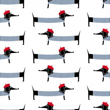 French style dog seamless pattern. Cute cartoon parisian dachshund vector illustration. Child drawing style puppy background.