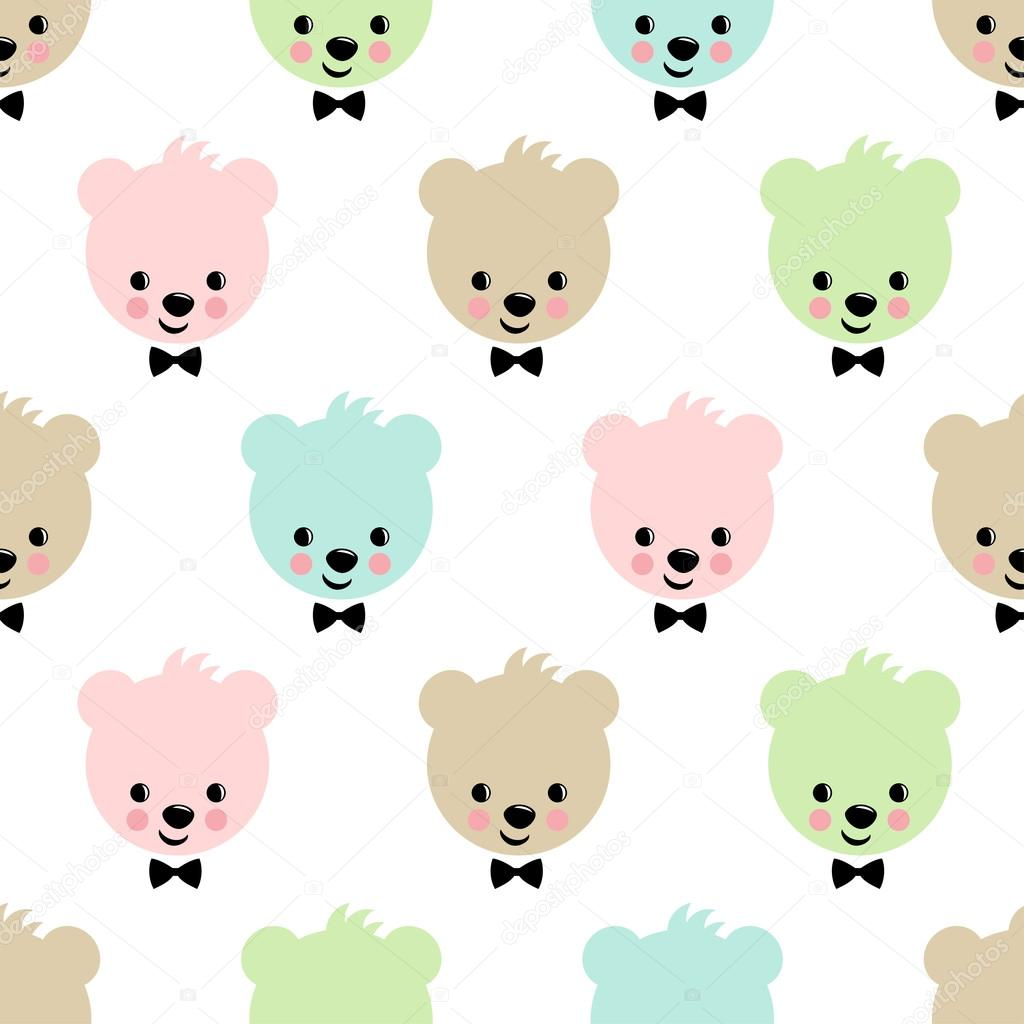 Teddy Bear Seamless Pattern Cute Vector Background With Boy Teddy