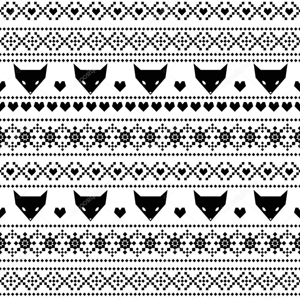 Fox with a hat new year or christmas animal isolated on white - Black And White Seamless Pattern With Fox For Kids Holidays Scandinavian Sweater Style Christmas Decorations Cute Background For Winter Holidays