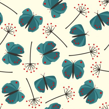 pattern with butterflies and dandelions