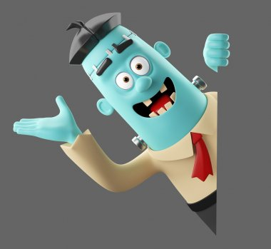 3d helloween cartoon funny character frankenstein