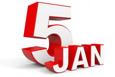 January 5. 3d text on white background.