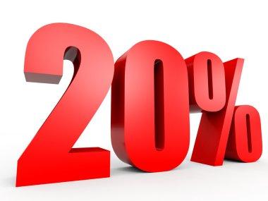 Discount 20 percent off. 3D illustration.