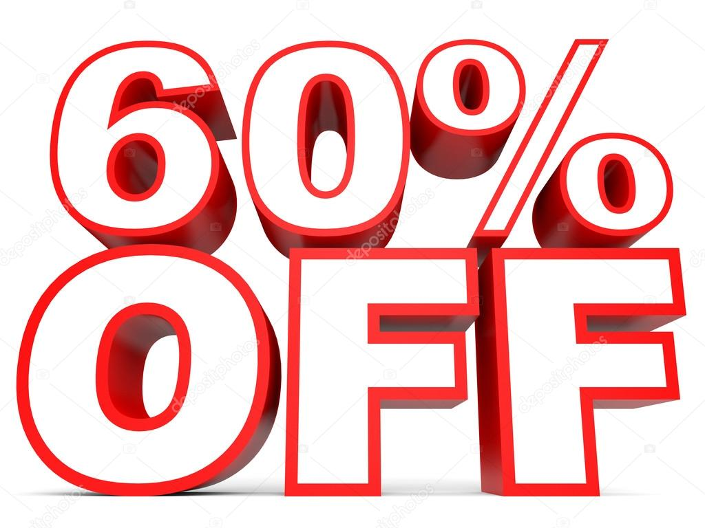 3401b247a Discount 60 percent off. 3D illustration on white background.– stock image