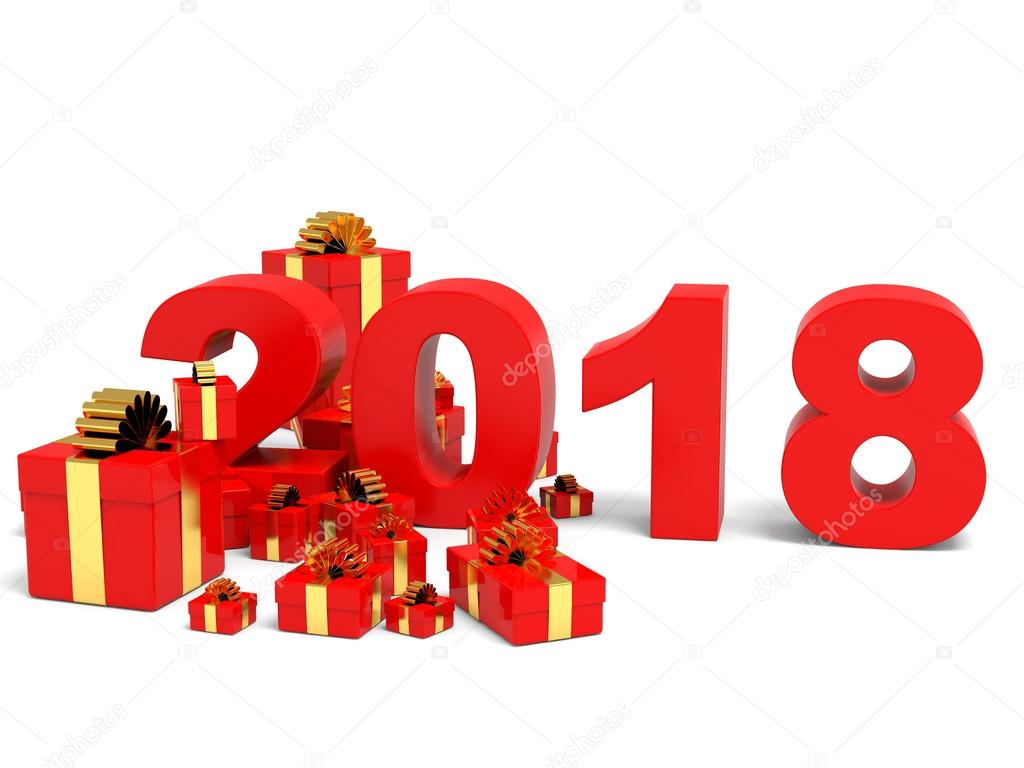 09d338677745d Happy new year 2018 and gifts. — Stock Photo © iCreative3D  60261907