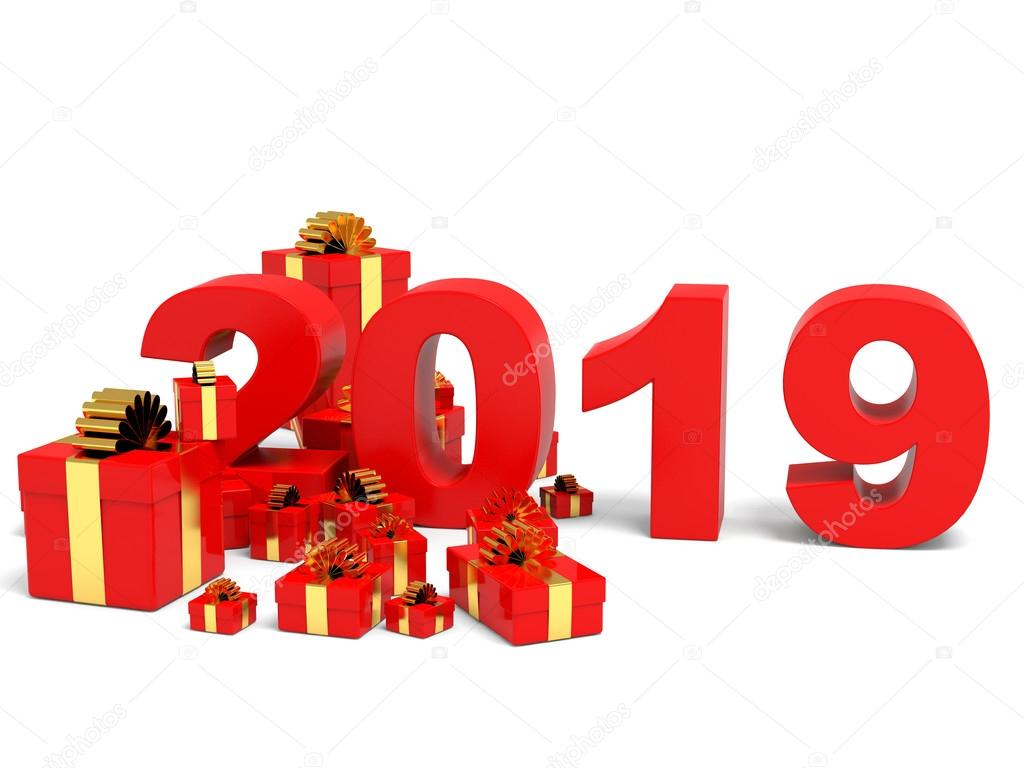 Happy new year 2019 and gifts. — Stock Photo