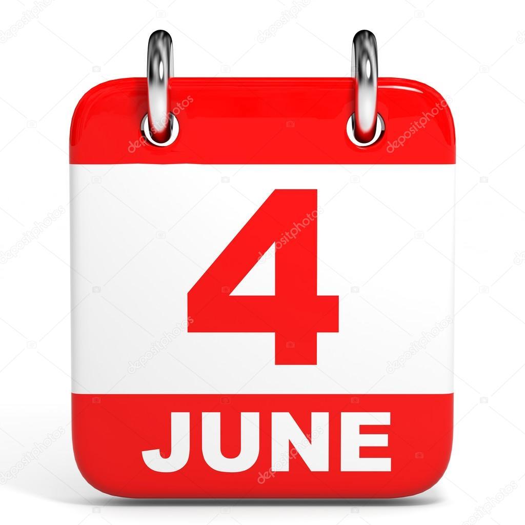 カレンダーです。6 月 4 日 — ス...