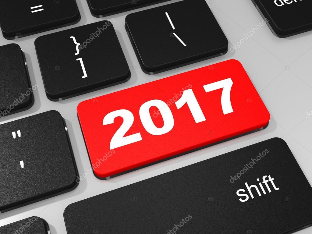 2017 new year key on keyboard.