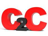 C2C objem písmena na bílém pozadí.