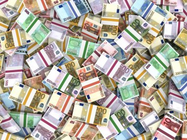 Money stacks of euros.