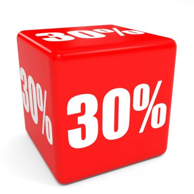 3D red sale cube. 30 percent discount.