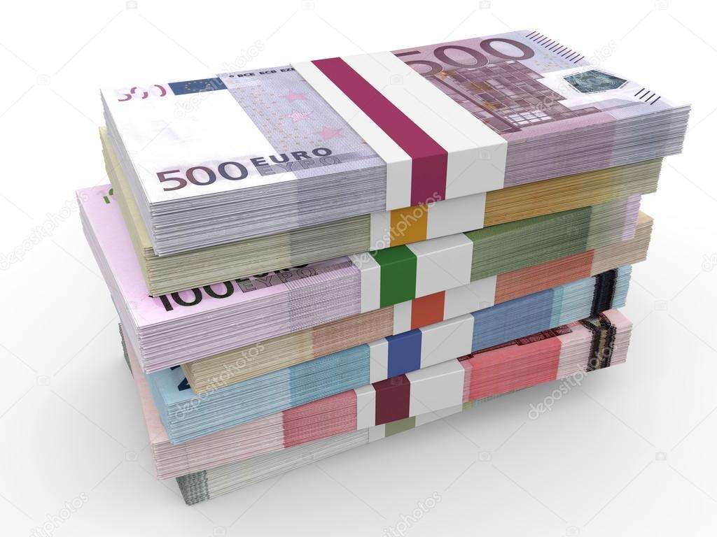 Geld stapel verschiedenen euro banknoten stockfoto - Stock piastrelle 2 euro ...