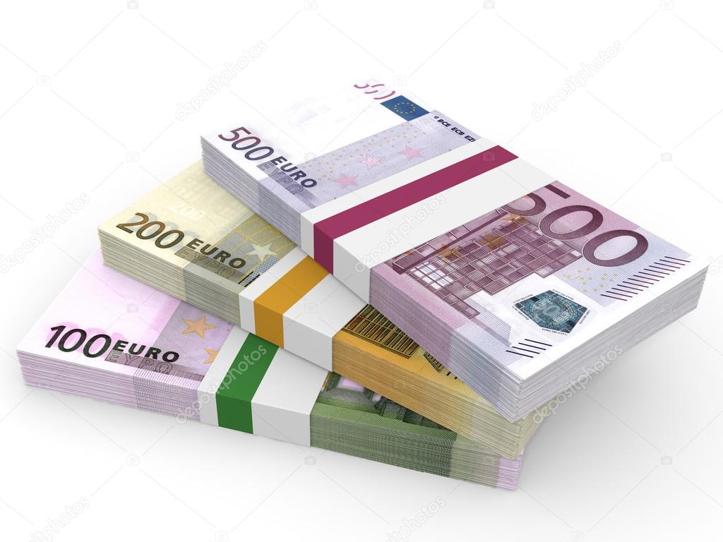 money stacks different euro bank notes stock photo icreative3d 89665170. Black Bedroom Furniture Sets. Home Design Ideas