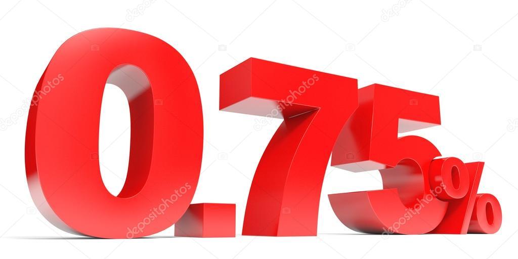 Red Zero Point Seven Five Percent Off Discount 075 Stock Photo