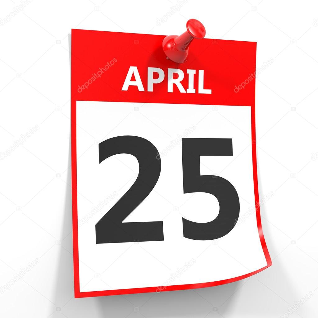 25 april calendar sheet with red pin. — Stock Photo © iCreative3D ...