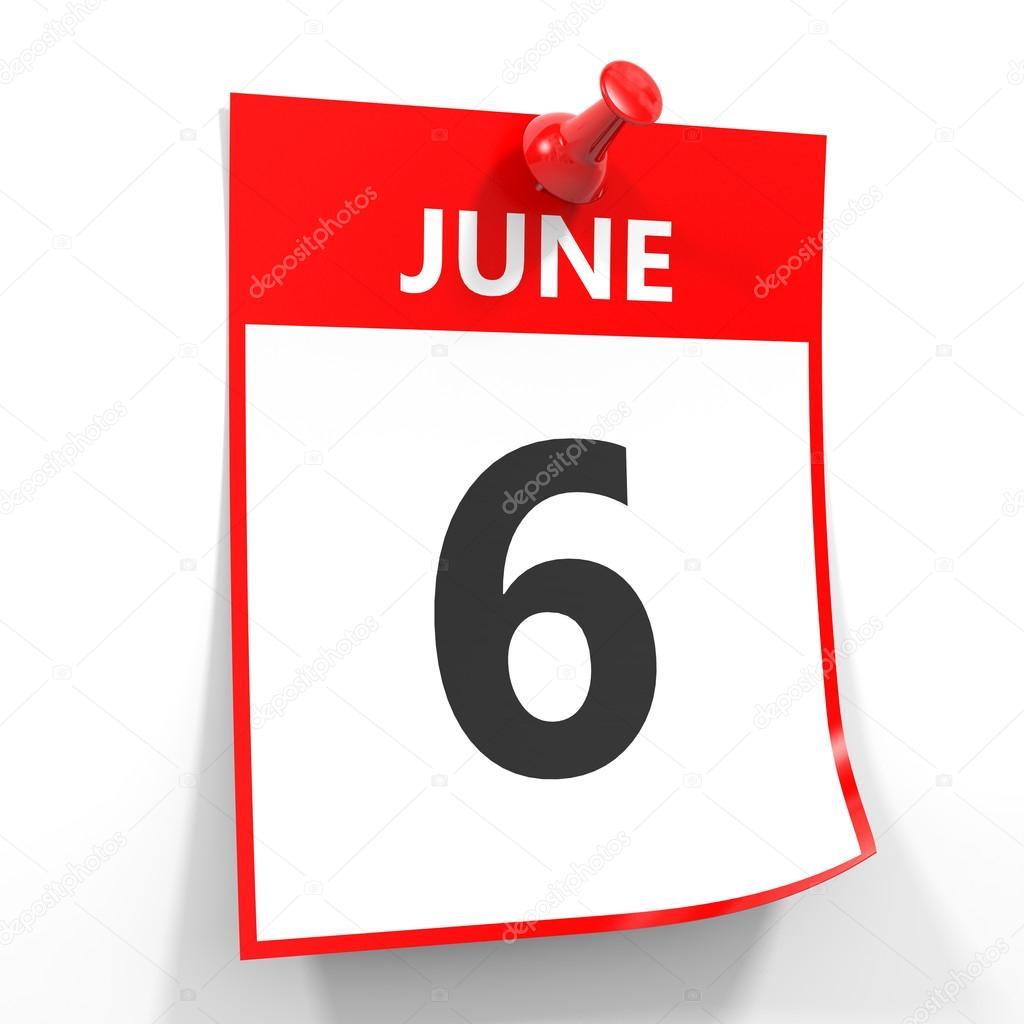 赤いピンを 6 月 6 日カレンダー...