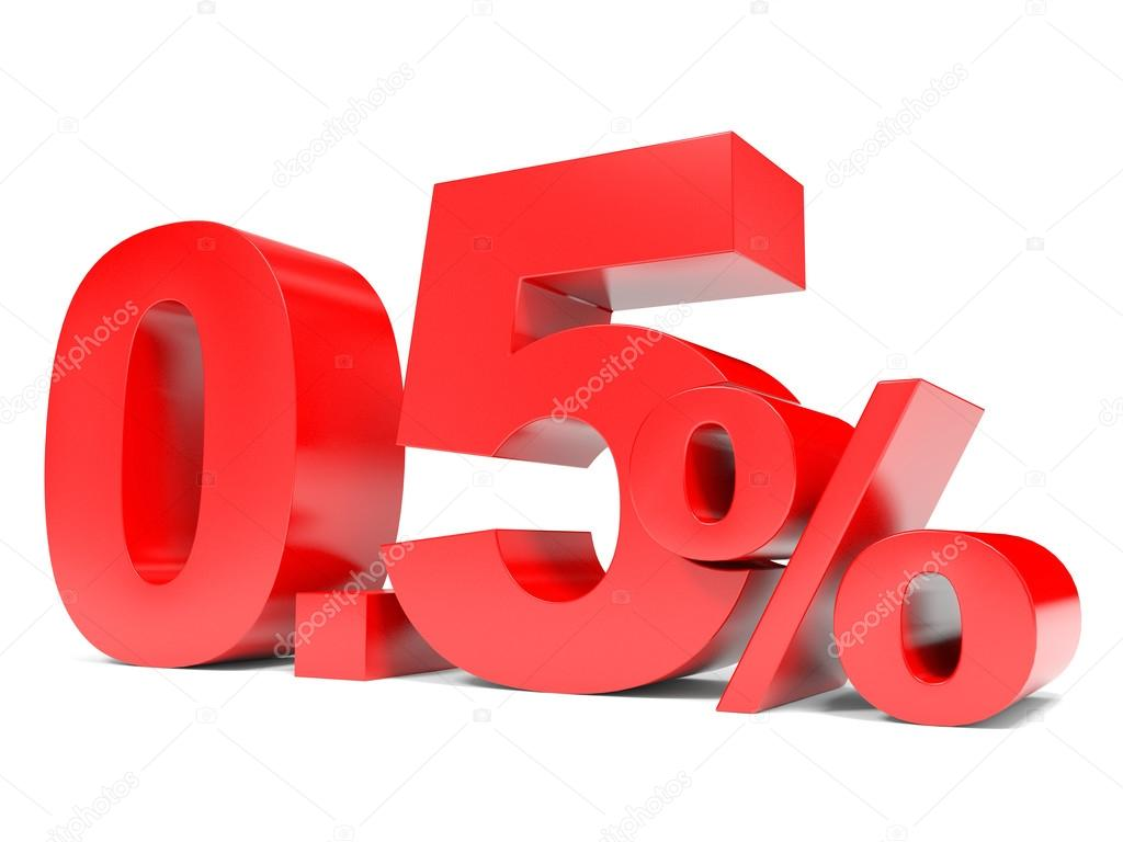 Red Zero Point Five Percent Off Discount 05 Stock Photo
