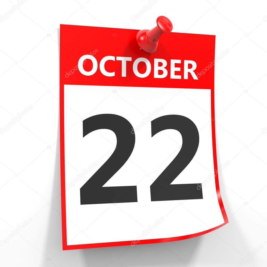 赤いピンで 10 月 22 日カレンダ...