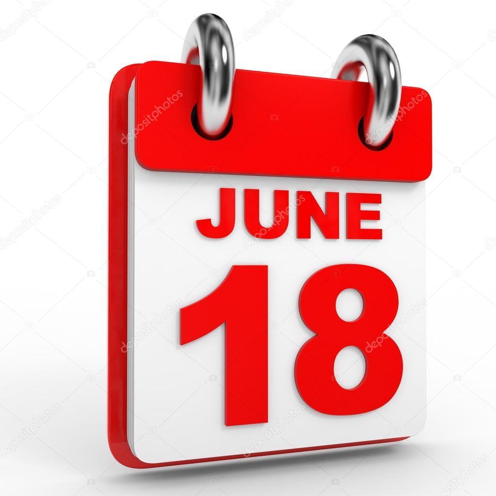 Calendario de 18 de junio sobre fondo blanco– Imagen de Archivo