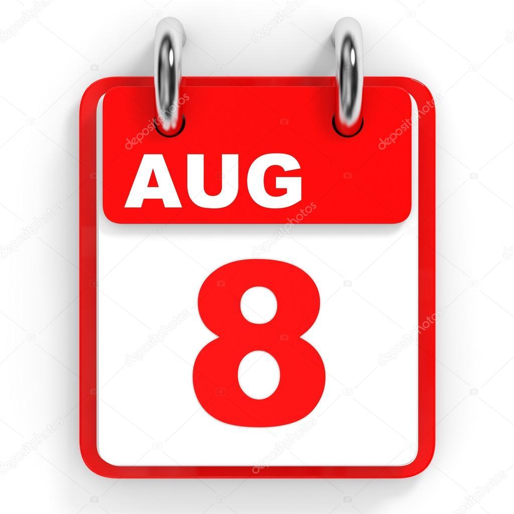 白い背景のカレンダーです。8 月...