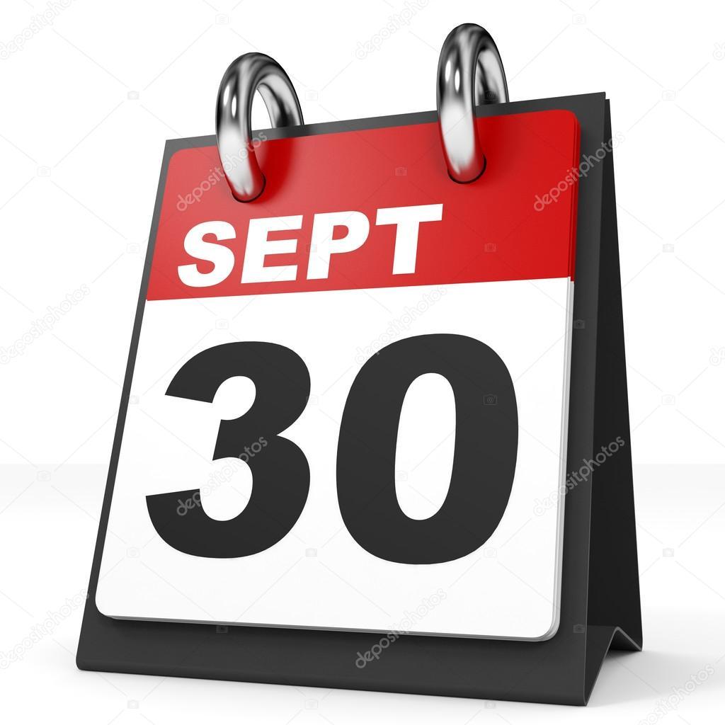 白い背景のカレンダーです。9 月...
