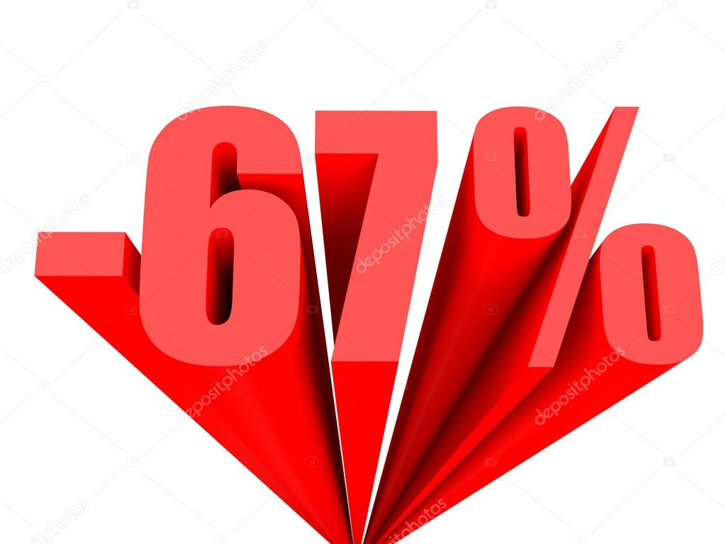 eb55630a54a2 Discount 67 percent off sale. 3D illustration. — Photo by iCreative3D