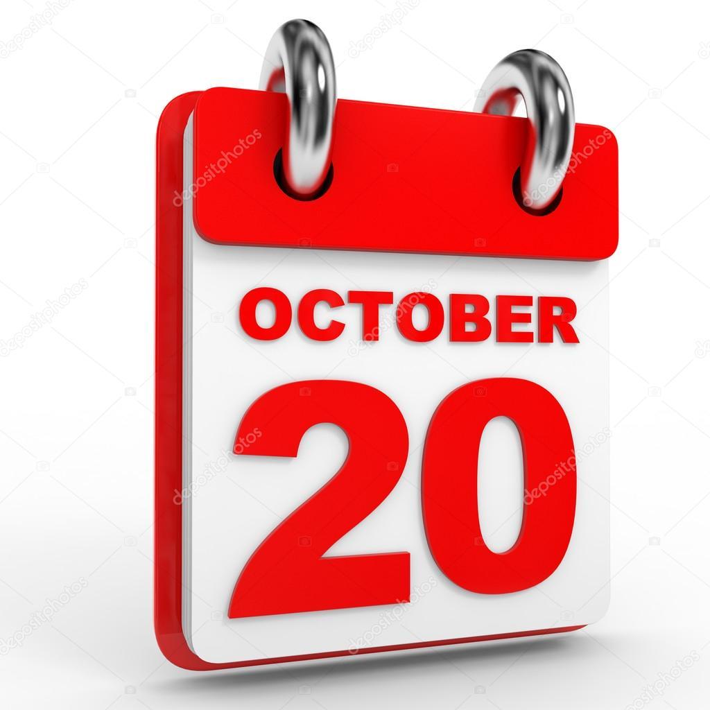 Calendrier 20.Calendrier Du 20 Octobre Sur Fond Blanc Photographie