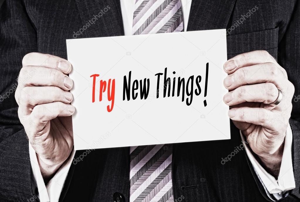Visitekaartje Met Nieuwe Dingen Proberen Woorden Stockfoto