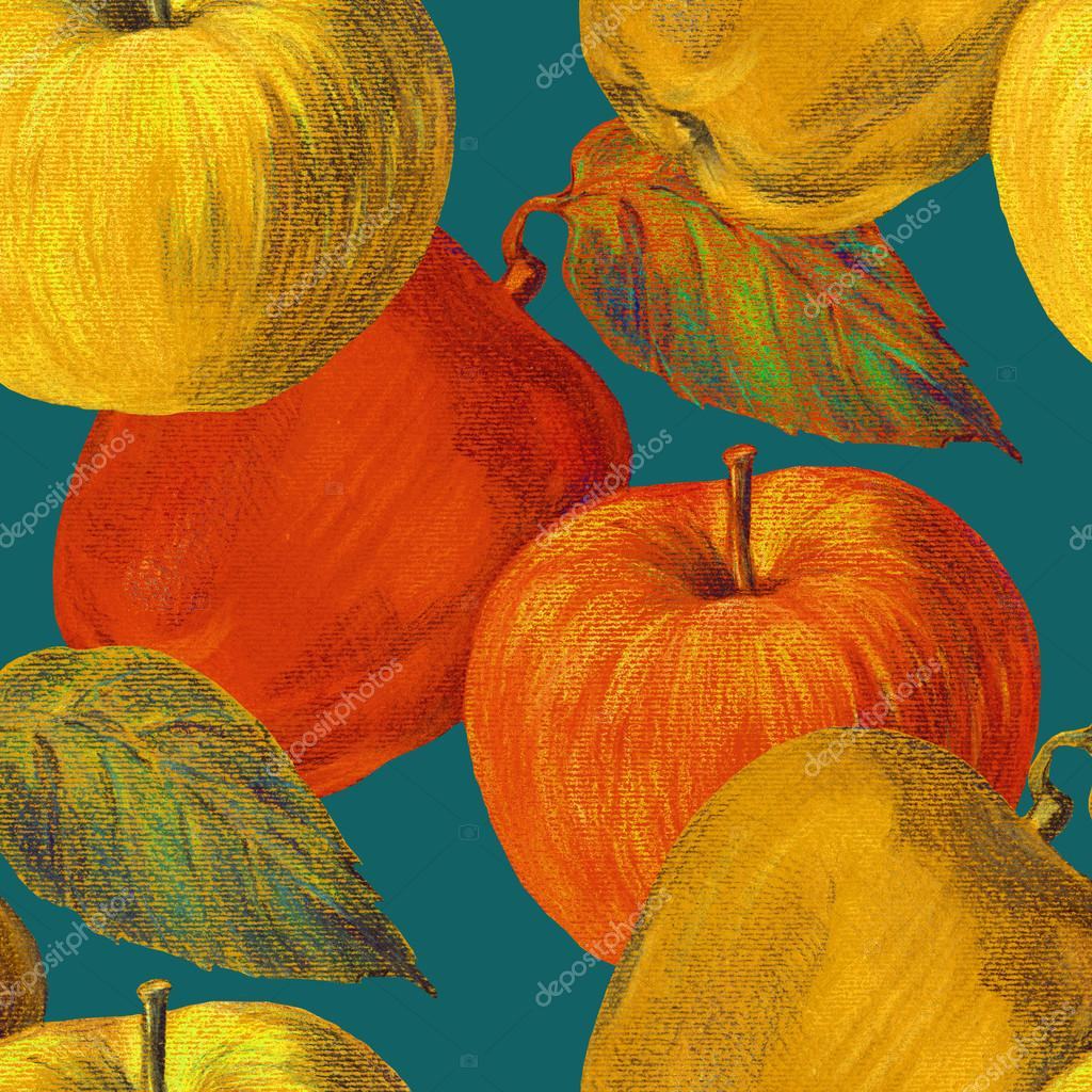 Yellow and Orange apples, color pencil, pattern seamless