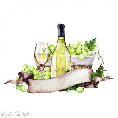Watercolor Food - White Wine