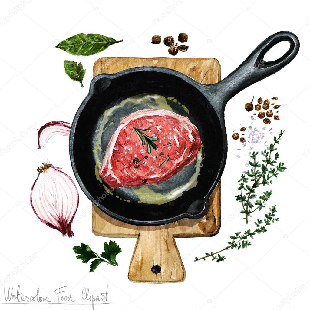 Watercolor Food Clipart - Pork chop on a frying pan — Stock Photo ... for Pork Chop Clipart  45gtk