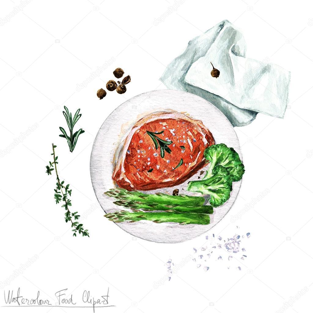 Watercolor Food Clipart - Pork chop — Stock Photo © nataliahubbert ... for Pork Chop Clipart  17lplyp