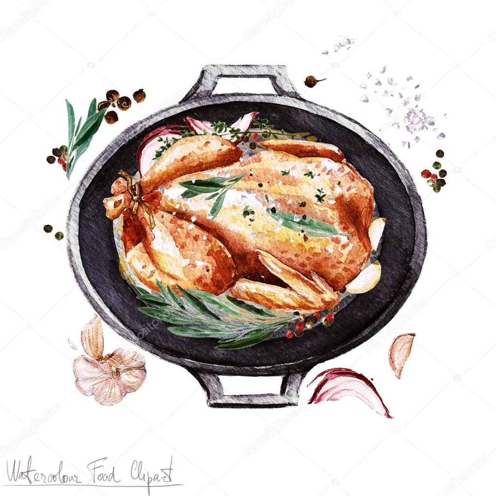 Clipart: chicken food | Watercolor Food Clipart - Chicken ...