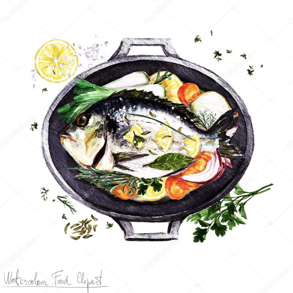 Clipart: fish dish | Watercolor Food Clipart - Fish in a ...
