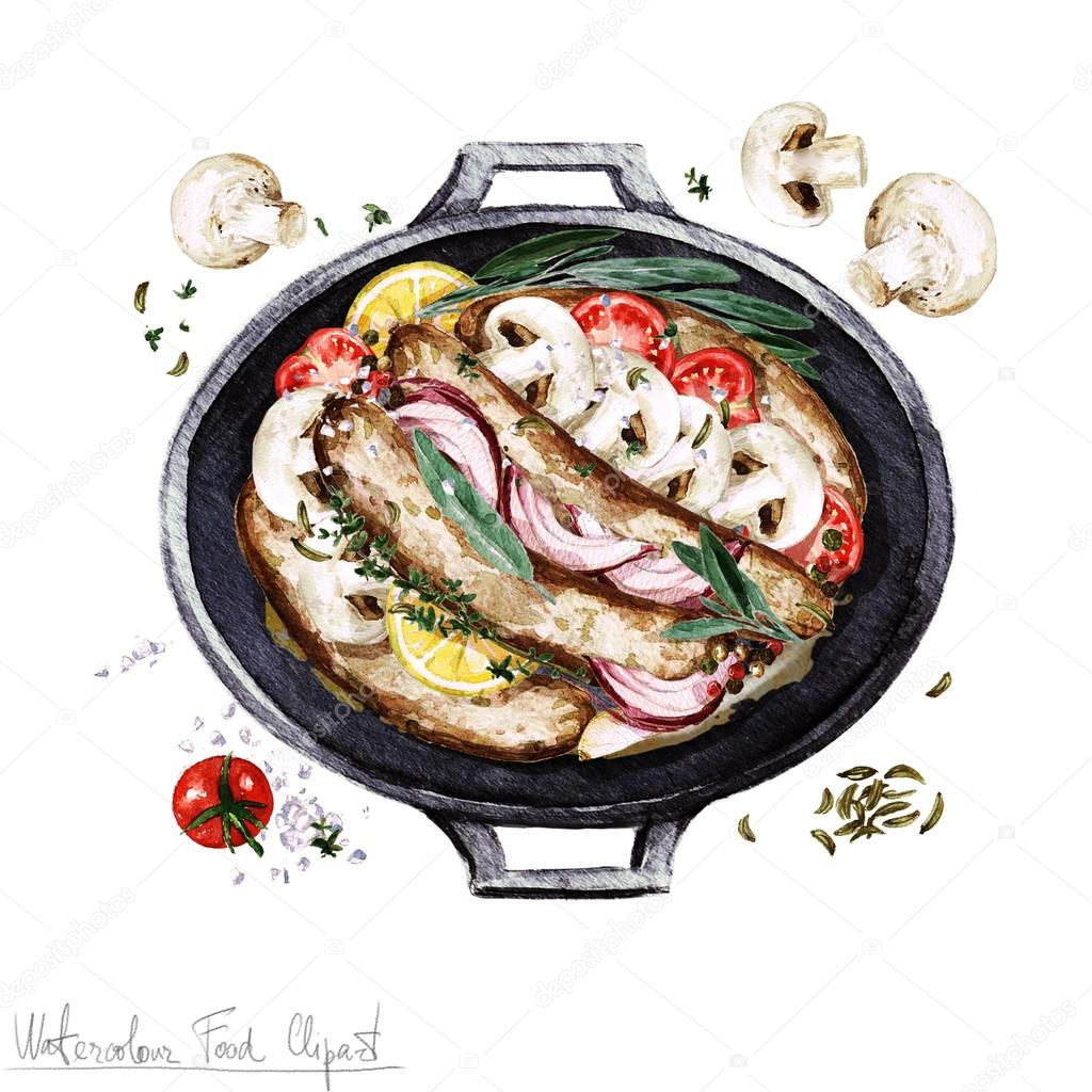 Aquarelle nourriture cliparts casserole de saucisse dans for Stock cuisine saint priest