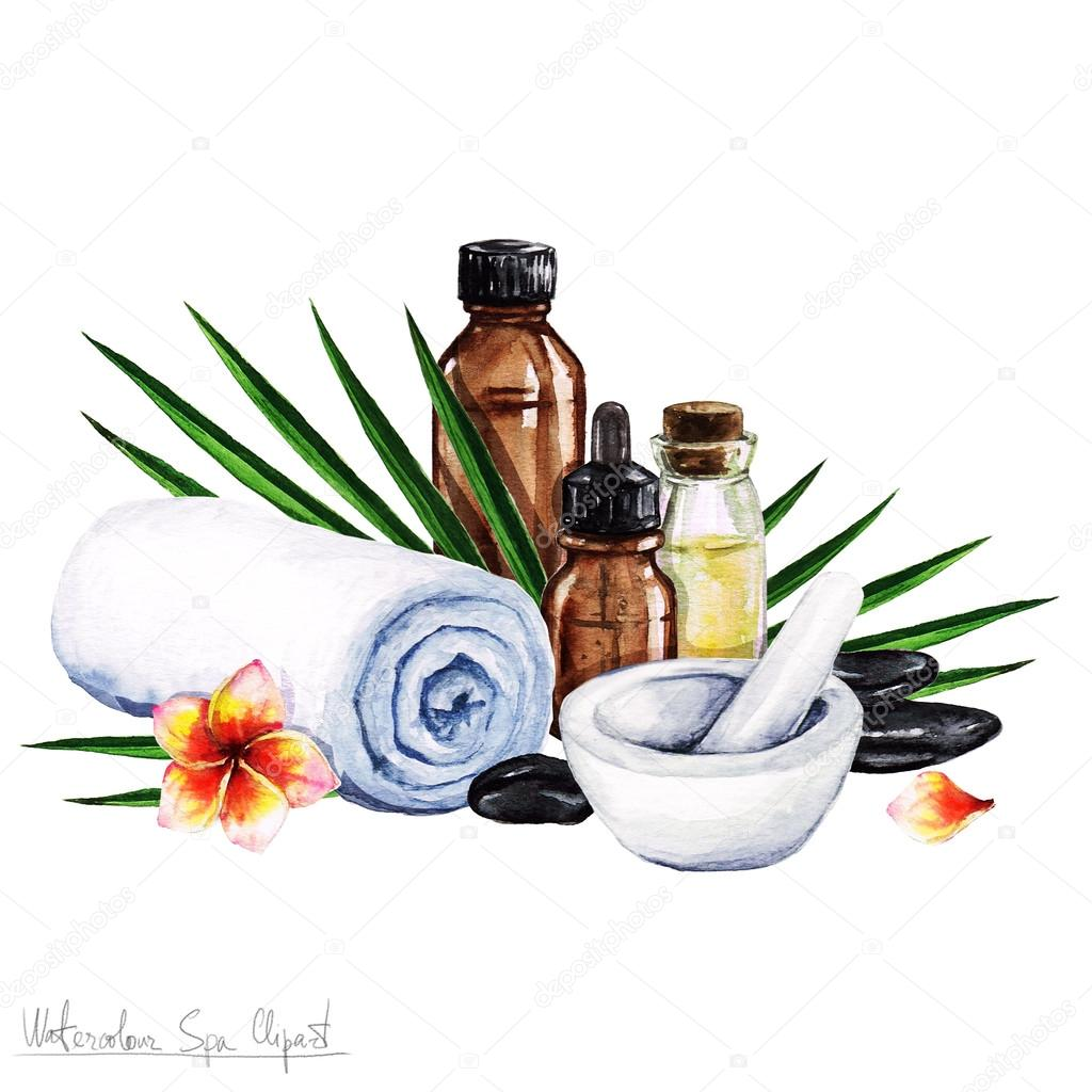 watercolor spa clipart collection of spa and beauty products and